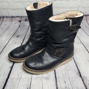 Frye sheepskin Motorcycle style boots